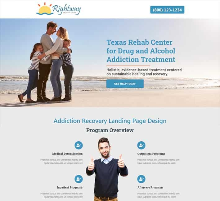 best addiction recovery landing page design