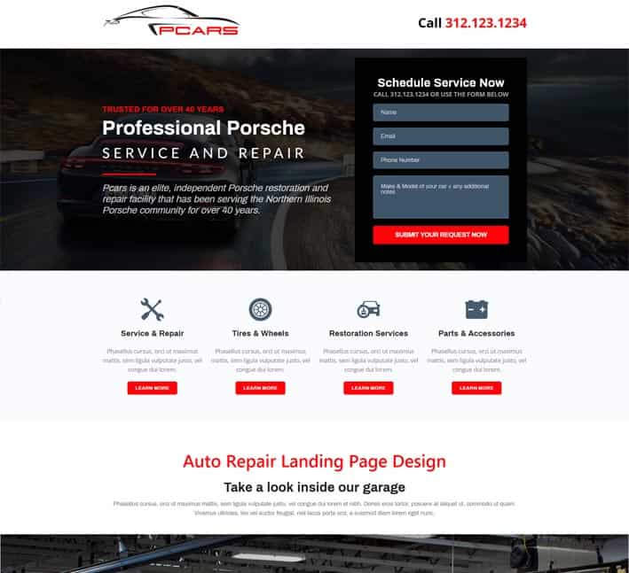 landing page design for auto repair