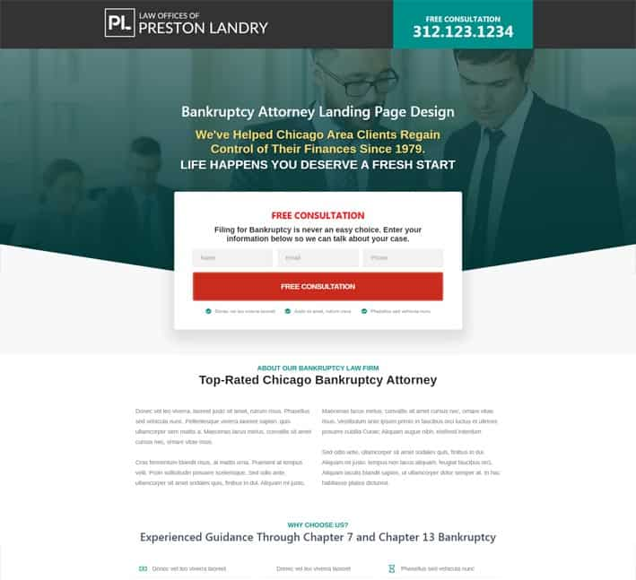 best landing pages for bankruptcy attorneys