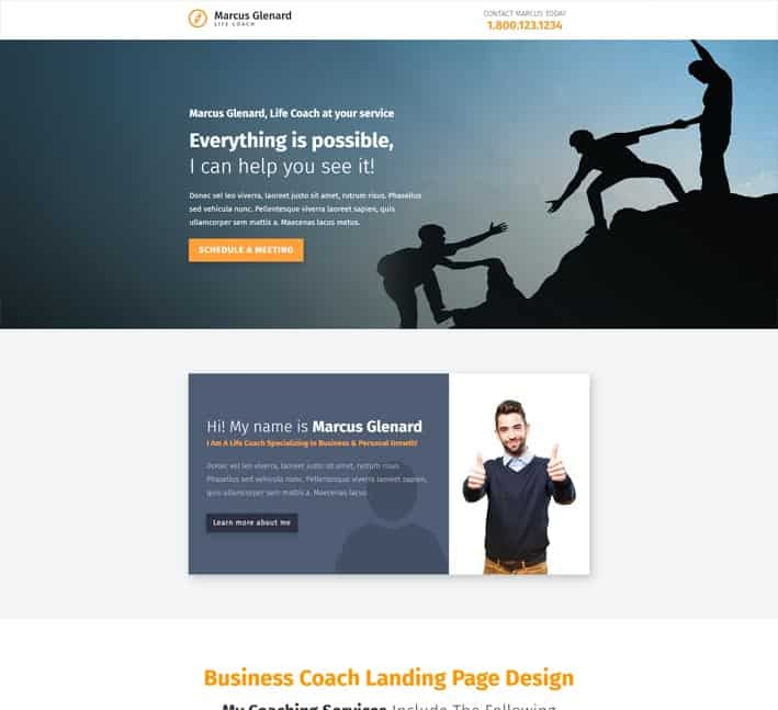 landing pages for business coaches