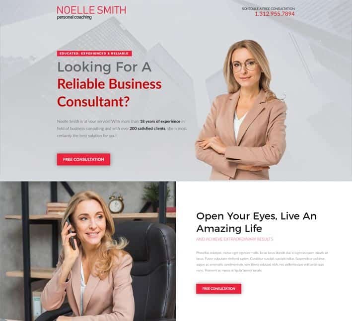 landing pages for consultants