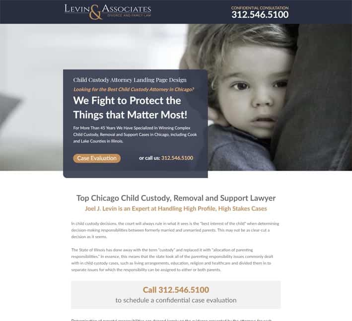 best landing pages for child custody lawyers