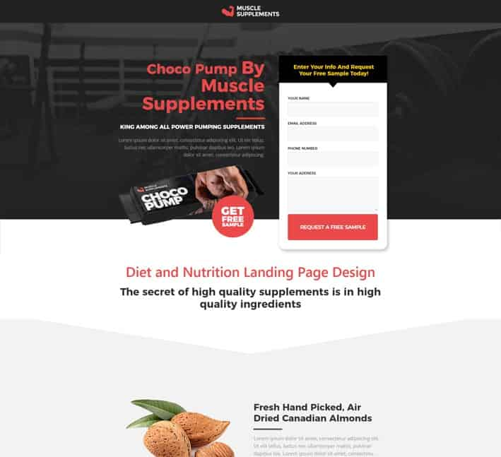 landing pages for nutrition and diet products