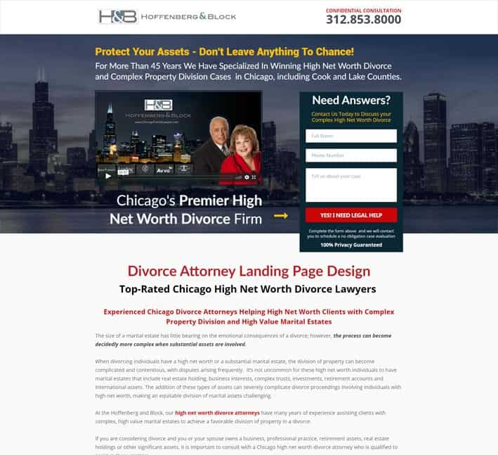 landing pages for divorce and family law attorneys
