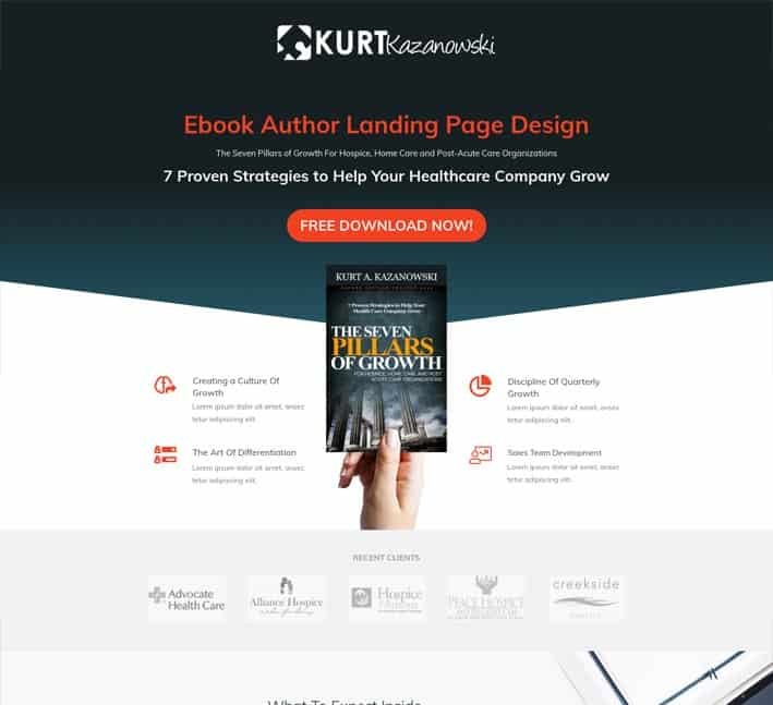 landing pages for authors