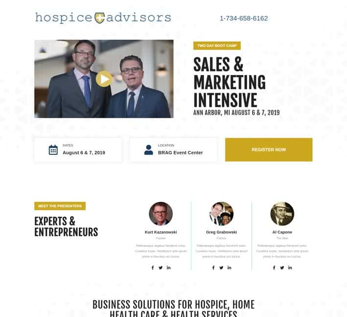 landing page for webinar or event