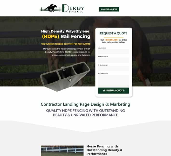 landing pages for fencing company