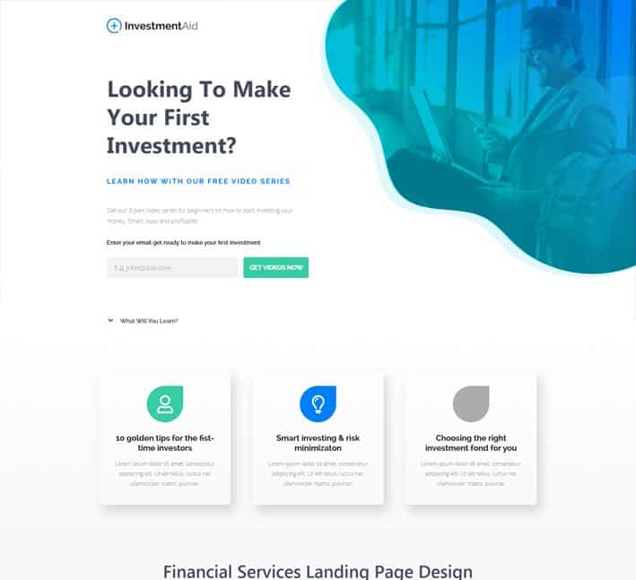 landing pages for financial services investments