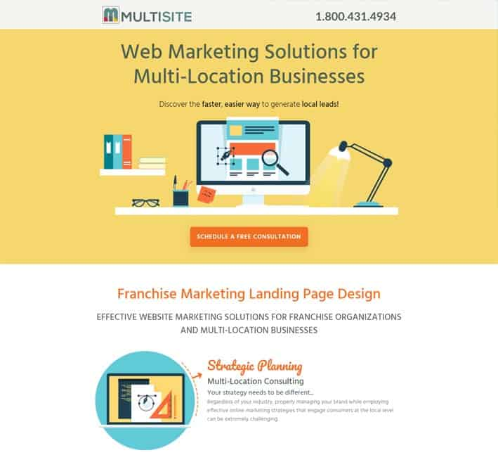 landing pages for franchise marketing