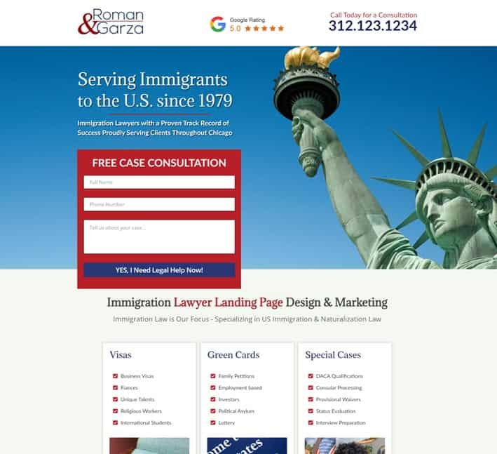 landin page for immigration lawyer