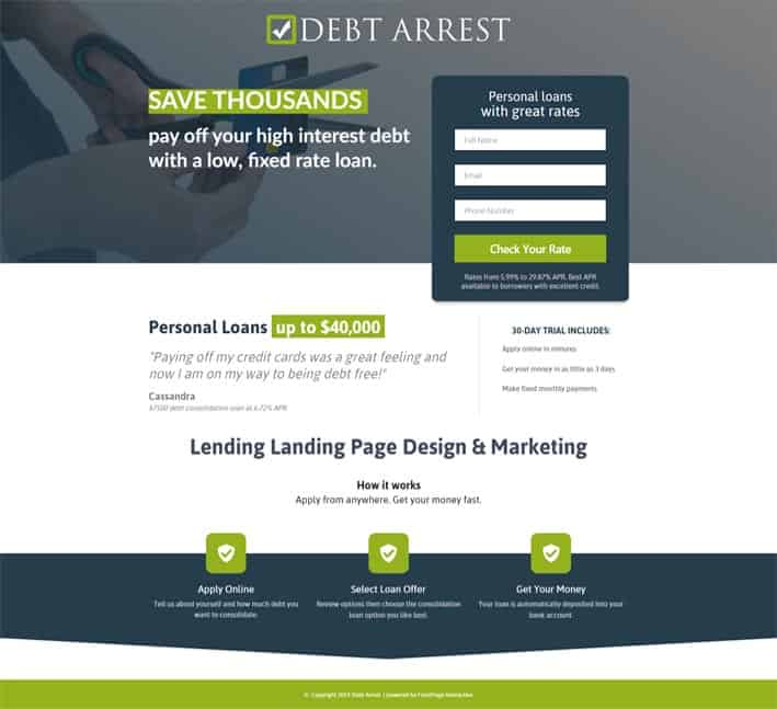 landing pages for lenders