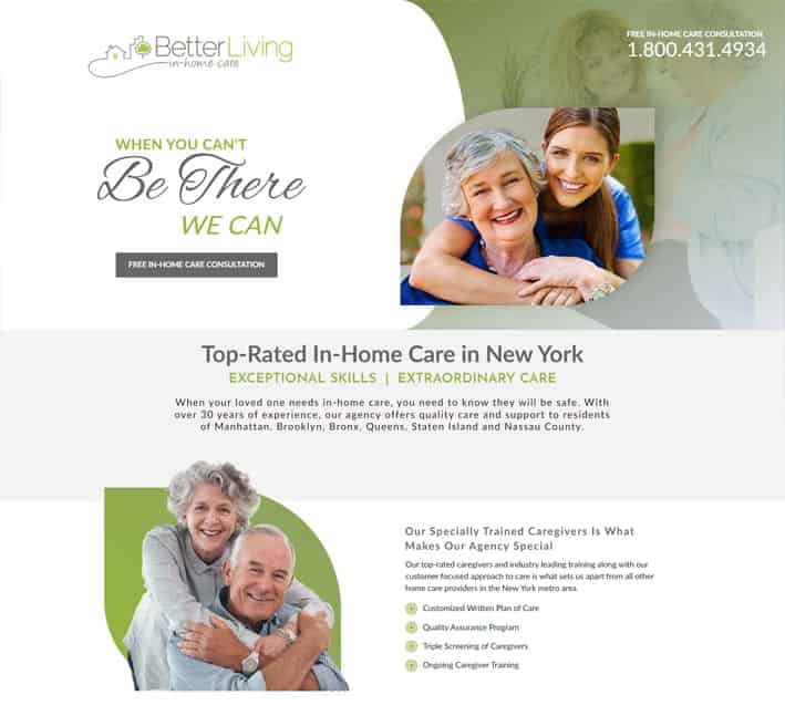 landing page for in home care agency