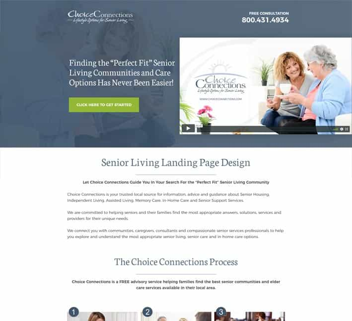 landing page for senior living