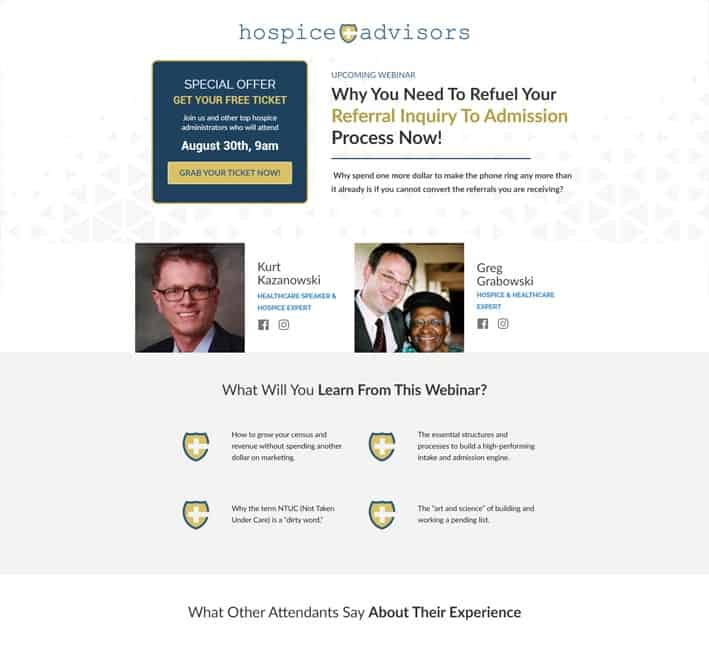landing page for webinar sign up